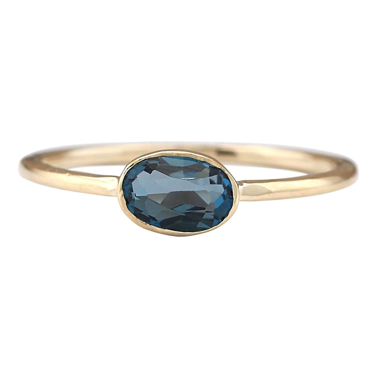 0.6 Carat Natural London Blue Topaz 14K Yellow Gold Solitaire Promise Ring for Women