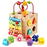 Agirlgle Baby Activity Cube Centers Toys Preschool Educational Wooden Toys with Bead Maze Shape Sorter xylophone for kids Boy And Girl Toddlers Gift Small Size