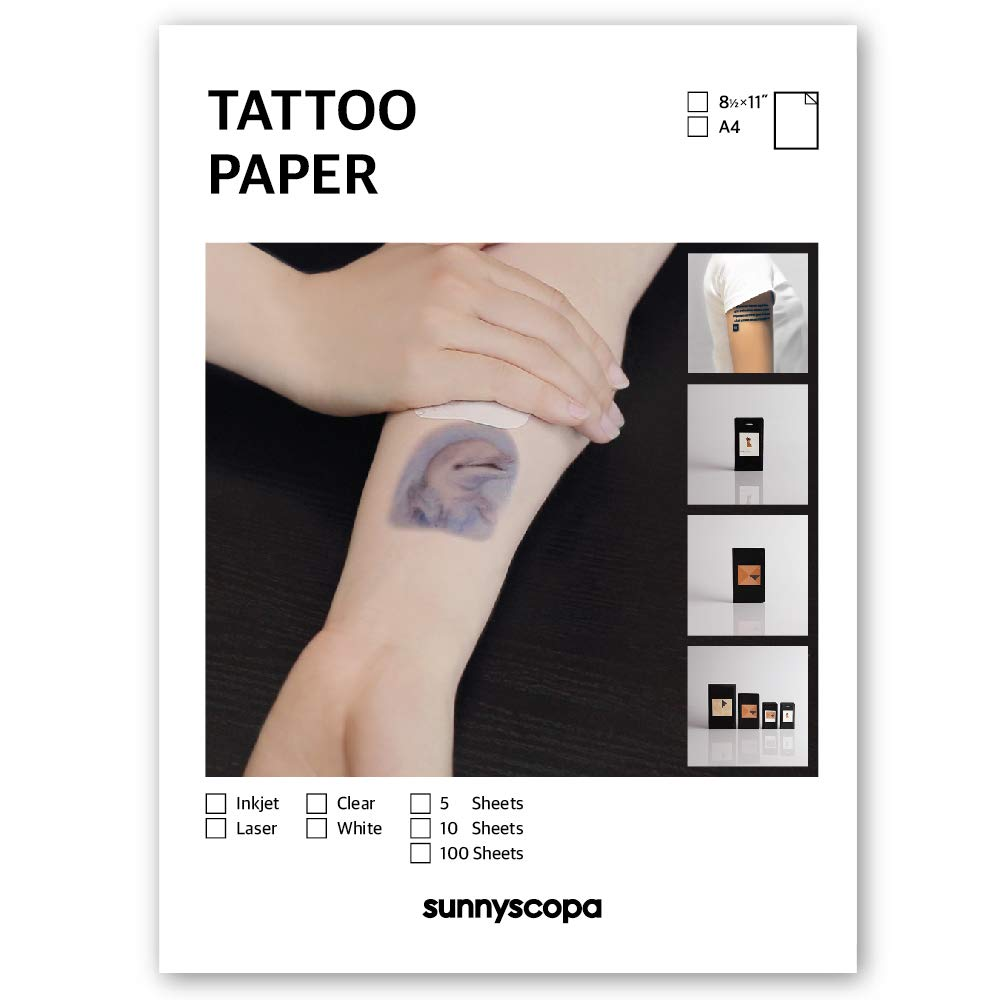 Sunnyscopa Printable Temporary Tattoo Paper for LASER printer - US LETTER SIZE 8.5''X11'', 100 SHEETS - DIY Personalized Image Transfer Sheet for skin - Custom Waterslide Decal Stencil Henna by Sunnyscopa
