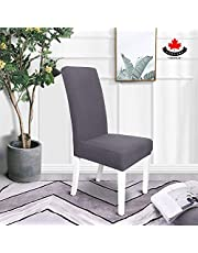 COSCANA, Dining Chair Cover, Set 4 or 6 Pack, Super Fit Stretch Removable Washable Seat Slipcover for Hotel Dining Room Ceremony Banquet Wedding Party (Grey, 4)