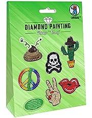 URSUS 43500003 Diamond Painting Funny, do tworzenia naklejek z błyszczącymi diamentami, 2 arkusze naklejek 15 x 10 cm, z różnymi wzorami, kamykami diamentowymi, picker, wosk i miska, kolorowy