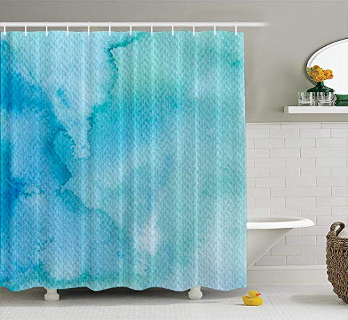 LILYMUA Colors in Water Bathroom Shower Curtains Blue Watercolor Color Pastel Water Fresh Green Hipster Bath Curtains Accessory with Hooks Waterproof Fabric Bathroom Decor - Shower Hipster Curtain