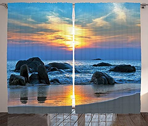 Seaside Decor Curtains 2 Panel Set Sunset Scenery in Sandy Beach with Rocks and Waves Lonely Peace Morning Dream on Earth Living Room Bedroom Decor Blue - Seaside Dreams Panel Bed