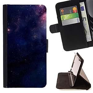 BullDog Case - FOR/HTC DESIRE 816 / - / purple space stars mysterious night /- Monedero de cuero de la PU Llevar cubierta de la caja con el ID Credit Card Slots Flip funda de cuer