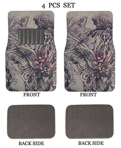 ALLBrand Universal Fit Front/Rear 4-Piece Full Set Sublimation Print Custom Design Carpet Car SUV Truck Floor Mats (Rose Wing/Gray)
