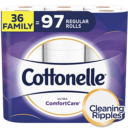 (Cottonelle Ultra ComfortCare Toilet Paper, Soft Biodegradable Bath Tissue, Septic-Safe, 36 Family Rolls)