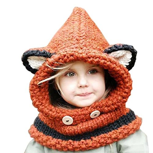 [Lowpricenice Winter Baby Kids Girls Boys Warm Woolen Coif Hood Scarf Caps Hats (Fox Hats Baby)] (Fox Hat Costume)