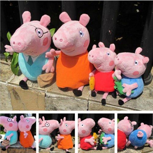 4Pcs Peppa Pig Family Plush Doll Stuffed Toy 30cm DADDY MUMMY 19cm Peppa GEORGE (Tv Characters Fancy Dress Ideas)