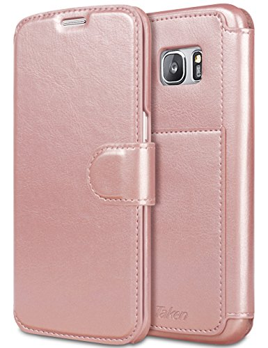 Galaxy S7 edge Case PU Leather Galaxy S7 edge Case, TAKEN Leather & Faux Leather Wallet Case [Magnetic Closure] Flip Cover Folio Case with Card Slots for Samsung Galaxy S7 edge - Rose gold