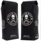 Death Wish Ground Coffee Bundle Deal, The World's Strongest Coffee, Fair Trade and USDA Certified Organic, 2 lb Bag