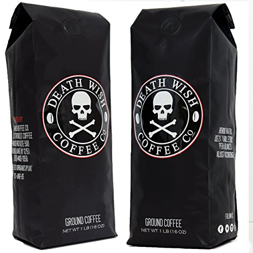 Death Wish Ground Coffee Bundle Deal, The World's Strongest Coffee, Fair Trade and USDA Certified Organic – 2 lb