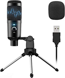 USB Microphone, Condenser Recording PC Microphone Perfect for Podcasting Voiceover Projects, YouTube Videos, Professional Studio Microphone with Metal Tripod Stand for Computer, Laptop MAC or Windows
