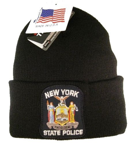 New York State Police Knit Cap - Lined with 40 Gram Thinsulate Insulation - Black Hat