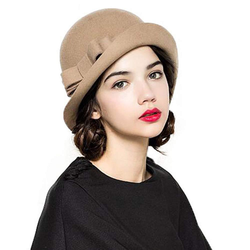 FADVES Women Vintage Wool Felt Bowknot Cloche Bucket Bowler Wide Brim Winter Hat