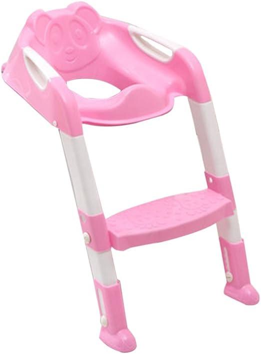 TAOHOU Asiento Plegable para niños con Tapa de Escalera Silla de Inodoro Ajustable de PP, Rosa: Amazon.es