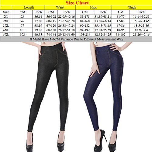 Zhhlaixing Ventas calientes XL-XXXXXL High Elastic Slim Imitation Cowboy Leggings Skinny Stretch Leg Lines Plus Size for Women Black