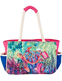 The Chaperone Beach Bag Tote Pink/blue multi