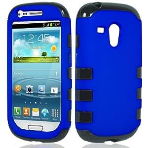 Blue Black Hybrid Hard Soft Cover Case for Samsung Galaxy S3 Mini i8190 by ApexGears