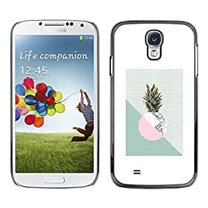 Colorful Printed Hard Protective Back Case Cover Shell Skin for SAMSUNG Galaxy S4 IV / i9500 / i9515 / i9505G / SGH-i337 ( Pineapple Moon Weed Green White )
