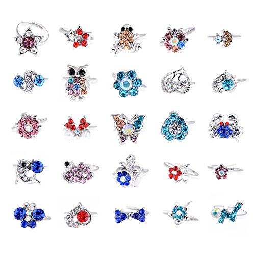 [Imixlot Lots of 20PCS Children Kids Mixed Cartoon Crystal Adjustable Cute Party Rings] (Cheap Party City Costumes)