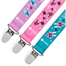 Pacifier Clip, 3 Pack - Universal Fit - Best Pacifier Holder for Girls