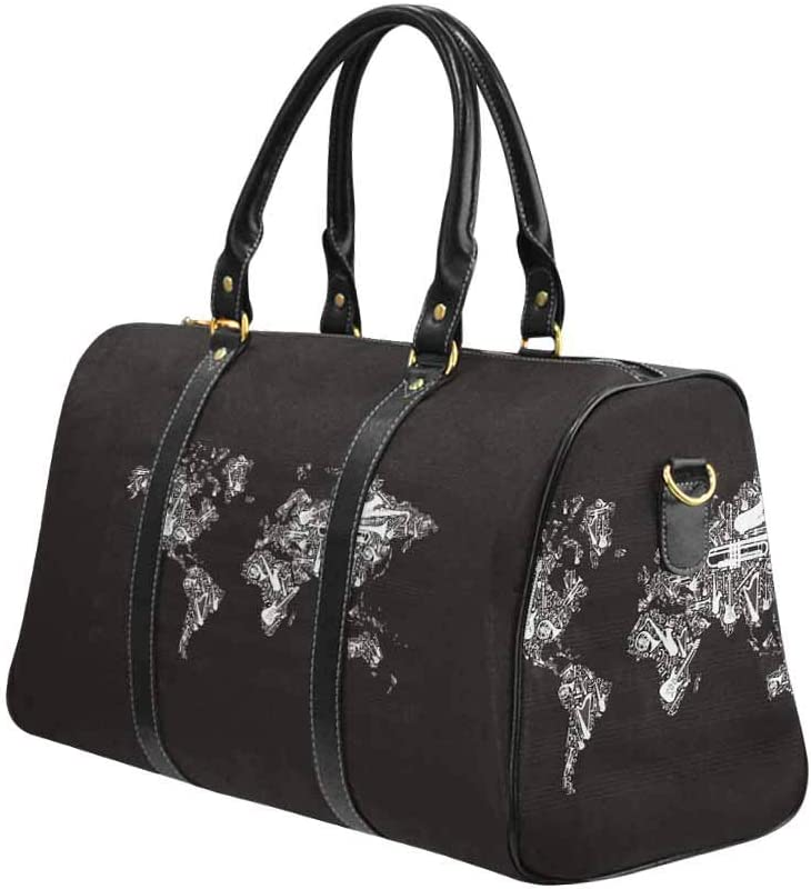 InterestPrint Carry on bag Travel Duffel Tote Unisex Weekender Bag Globe World Map