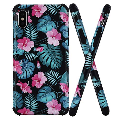for Apple iPhone Xs Case (2018) / iPhone X Case (2017),WInzizo Designed Slim Shockproof Protection Soft TPU Silicone Rubber Flowers,Bumper Dual Layer Protection Floral Phone Case