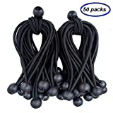 Ball Bungee Cords 50 Packs, 5 Inch Black Tie Down Cords for Tarp, Canopy Shelter, Wall Pipe, UV Resistant
