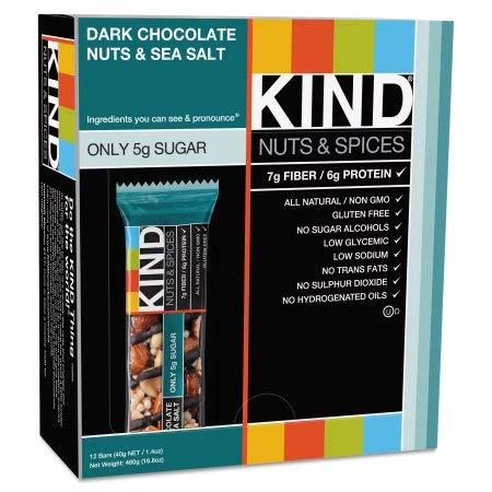 Kind, Nuts & Spices Bar, Dark Chocolate Nuts & Sea Salt (Pack of 24)