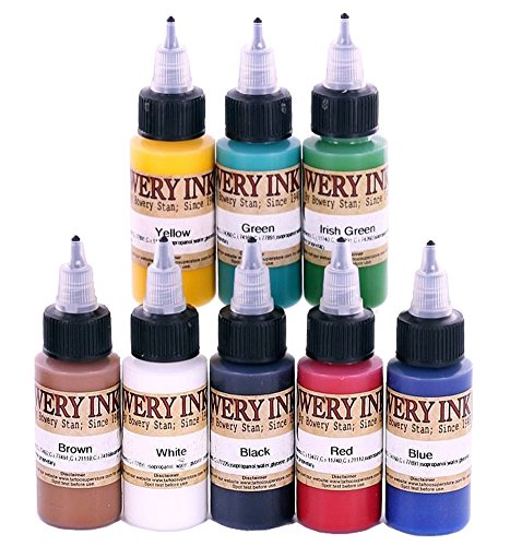 Bowery Ink Tattoo Ink Supplies Historic 1940's 8 Color Set Professional Quality, 1 Ounce Bottles, Set of (1940 Tattoo)