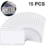 15 Pieces A6 Size 6 Holes Binder Pockets Plastic