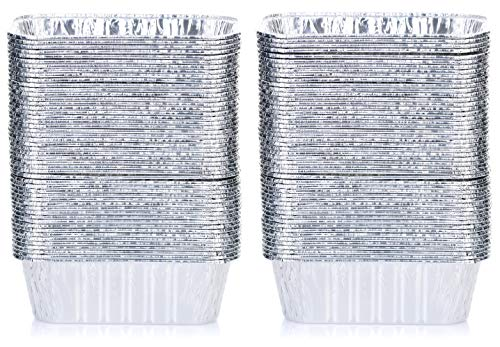 (DOBI (100 Pack) Mini Loaf Baking Pans - Disposable Aluminum Foil 1lb Small Bread Tins, 6
