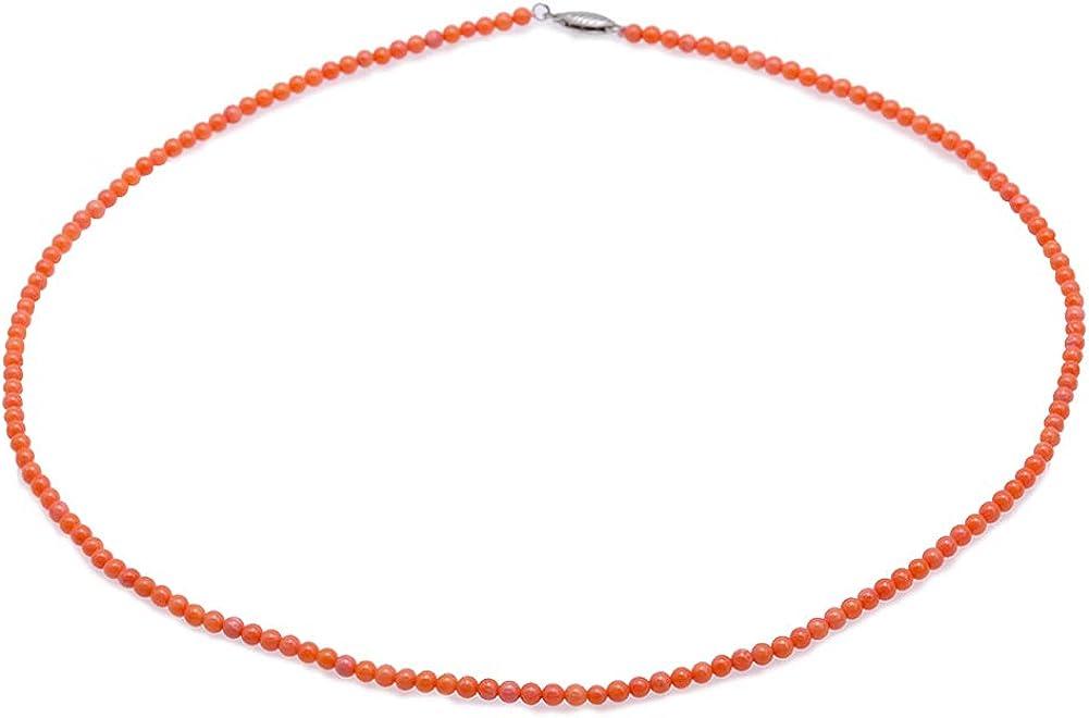 JYX - Collar de coral con piedras preciosas de 3,5 mm, redondo, de coral naranja, 45 cm para mujer