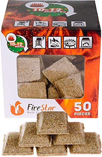 Fire Charcoal (Fireplace starter cubes - Fire starter squares 50pc - Firestarters for indoor fireplace - Natural wood and wax fire starter - BBQ and grill charcoal starters burns 10-12 min)