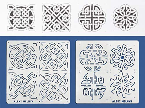 Aleks Melnyk #40 Metal Journal Stencils/Celtic Knot/Stainless Steel Stencils Kit 2 PCS (4 Designs)/Templates Tool for Wood Burning, Pyrography and - Celtic Knot Metal