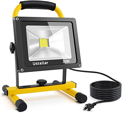 Ustellar 2400lm 30w Led Work Light 200w Equivalent Waterproof Portable Led Flood Lights 16ft 5m Cord With Plug Stand Industrial Working Light For