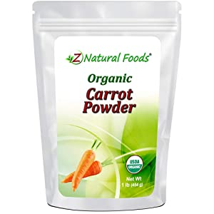 Organic Carrot Powder - Orange Vegetable Superfood Supplement for Drinks, Shakes, Smoothies & Recipes - All Natural Carotene, Vitamins & Minerals - Raw, Vegan, Non GMO, Gluten Free, Kosher - 1 lb