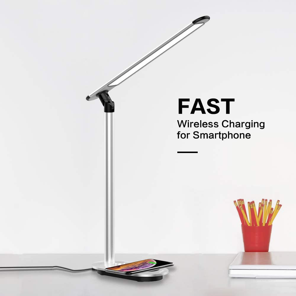LED Desk Lamp, ASIWO Fast Wireless Charger Eye-caring Learning Table Lamp Dimmable USB Port Charging Office Lamp with 3 Lighting Modes Several Brightness levels, Ergonomic Design Reduction Eyestrain