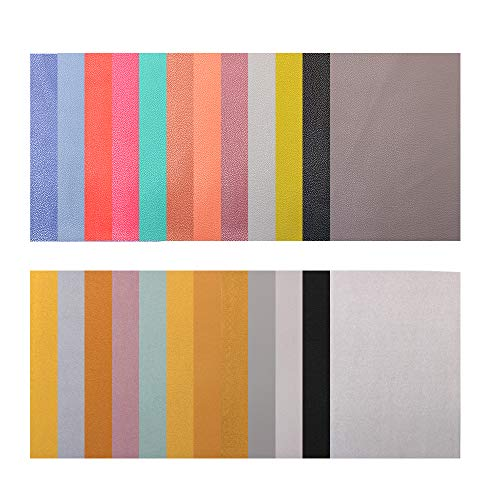 M-Aimee 12 Colors Faux PU Leather Fabric Sheet Canvas Back (8 x 12 Inch) for Bag Making, Wallet, Hair Crafts Making, Jewelry Making, Sewing and Other - 12 Faux Leather