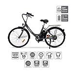 51Zednk7KqL. SS150 Nilox E Bike X5, Bicicletta Elettrica City Bike a Pedalata Assistita, Ruote 26'', Velocità 25km/h, Autonomia 55km, Nero