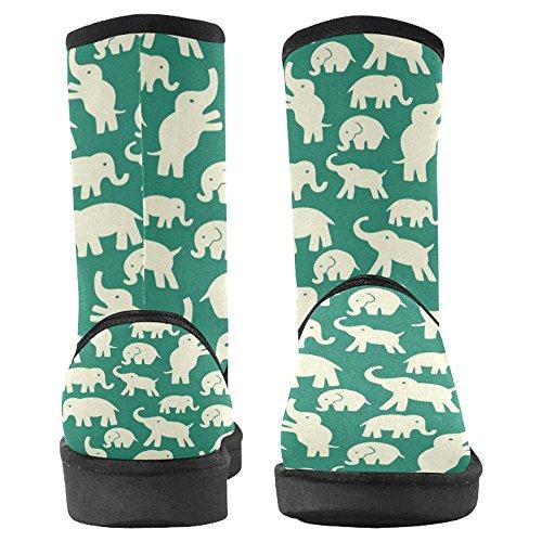 Interestprint Kvinners Snø Støvler Unike Designet Komfort Vinter Støvletter Hvite Elefanter Multi 1