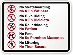 Amazon.com: No Skateboarding: No Ir En Patineta, No Bike