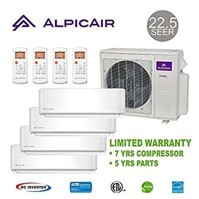 AlpicAir +Multi Quad-Zone Ductless Mini-Split System 36,000 BTU Inverter Heat Pump (9k+9k+9k+18k)