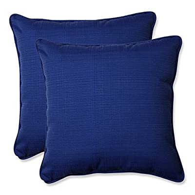 "Pillow Perfect Outdoor/Indoor Veranda Cobalt Throw Pillows, 18.5"" x 18.5"", Blue, 2 Pack - Includes two (2) outdoor pillows, resists weather and fading in sunlight; Suitable for indoor and outdoor use Plush Fill - 100-percent polyester fiber filling Edges of outdoor pillows are trimmed with matching fabric and cord to sit perfectly on your outdoor patio furniture - living-room-soft-furnishings, living-room, decorative-pillows - 51ZeeBvXQfL. SS400  -"