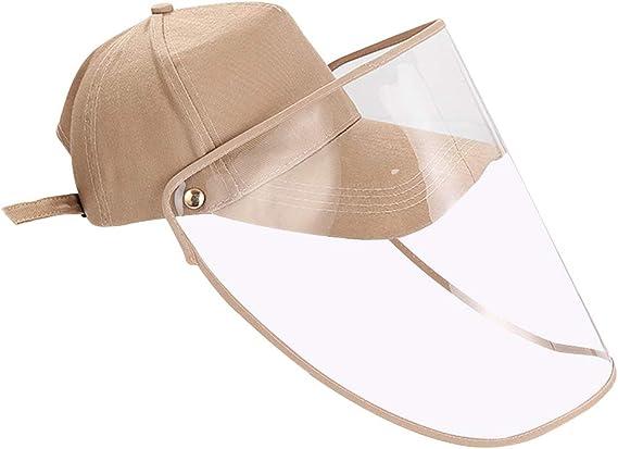 FEOYA Berretto da Baseball Unisex con Visiera Protettiva Trasparente antinebbia Cappello antisfondamento Esterno Secchio Cappello Staccabile Viso Protezione Antivento Cappello da Sole