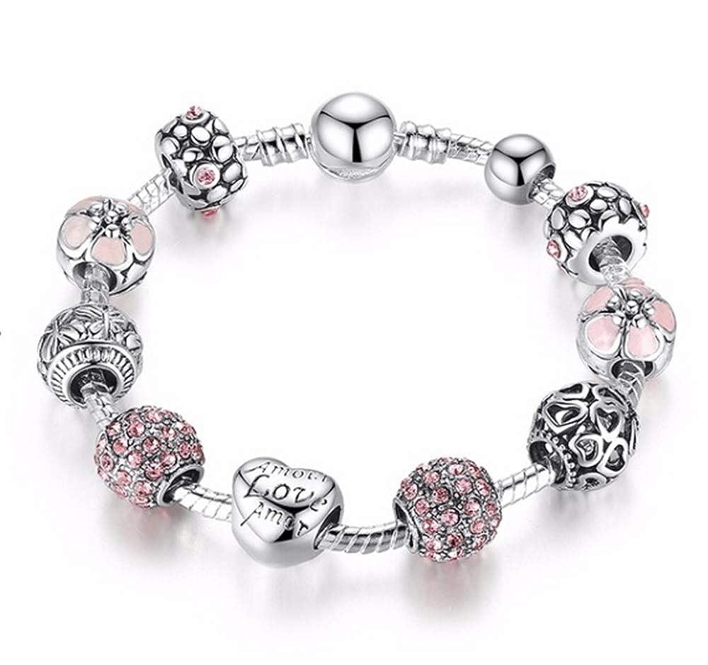 MysterLuna Shambhala Pearl Drill Ball Charm Bead Bracelet Bangle Snake Chain Jewelry Gift