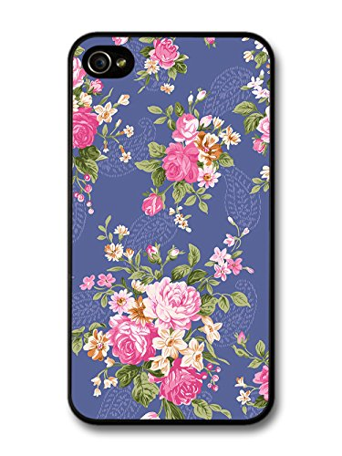 Vintage Floral Print Victorian Wallpaper on Cool Blue case for iPhone 4 4S