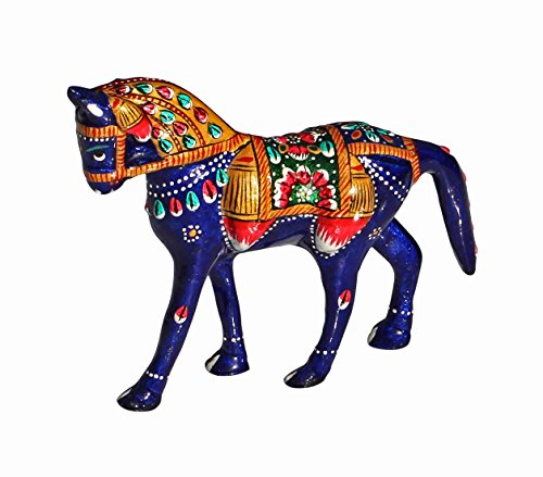 HOLIDAY CLEARANCE- 4 Inch Lucky Horse / Pony Statue / Collectible Animal Figurine / Blue Sculpture - Handpainted Centrepiece / Figurines / Table Decorations & Home Decor Gift for Derby Lovers