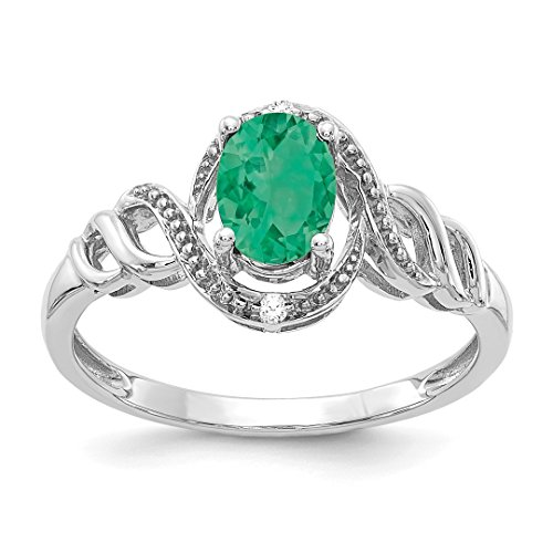 10k White Gold Green Emerald D