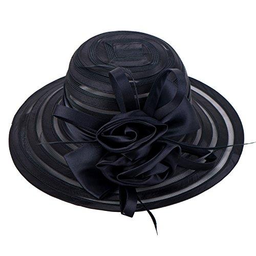 Womens Satin Church Wedding Kentucky Derby Sun Hat A214 (Black) (Womens Fashion Derby)